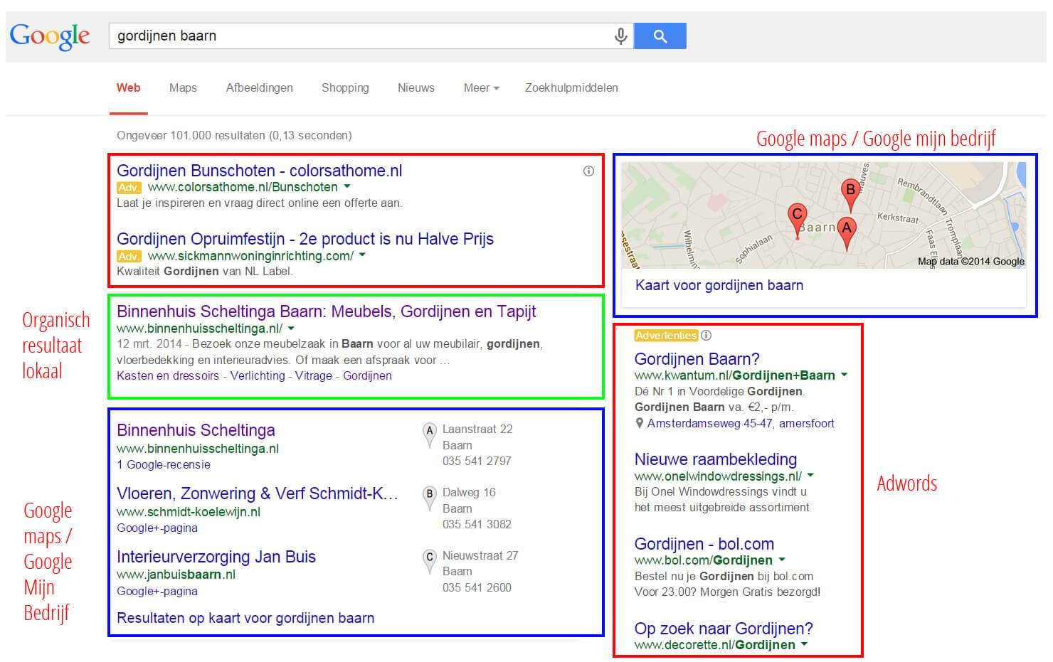 google resultaatpagina baarn