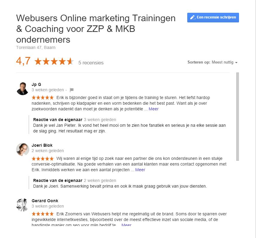 Google Mijn Bedrijf recensies