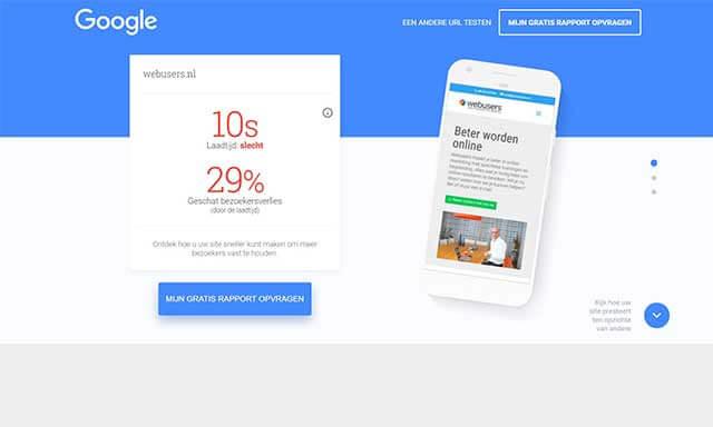 mobiele website snelheid test voor update